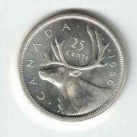 CANADA 1956 TWENTY FIVE CENTS QUARTER QUEEN ELIZABETH II .800 SILVER COIN