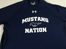 SMU Mustangs Nation Shirt Under Armour Heat Gear Loose Womens Large Navy Blue
