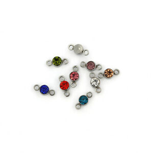 6 Rhinestone Drop Connector Silver Tone Stainless Steel Charms - FD243