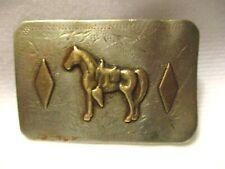 Vintage Well Worn Horse & 2 Diamonds Great Grandpas Western BELT BUCKLE RICARDO
