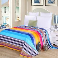 Fleece Winter Throw Blanket For Sofa Bed Couch Warm Soft Striped Pattern Textile