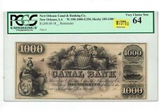 $1000 NEW ORLEANS CANAL & BANKING CO. 18XX  REMAINDER. PCGS 64! HAXBY 105-G80a