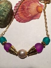 Pink Freshwater Pearl And Sea Glass Handcrafted Necklace