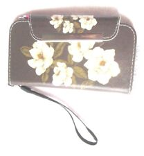 Cell Phone Wallet Wristlet Clutch Gray Floral Magnetic Closure 3 Card Slots
