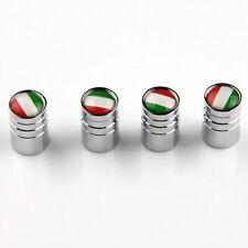 4 Pcs Italy Flag Car Wheel Tire Valve Caps Stem Silver Stainless Steel Extended