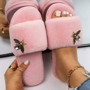 Faux Fur Shoes Bee Alloy Rhinestone Sandals Flip Flops Heel Luxury Designer Flat