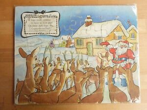 LOUIS MARX & CO vintage 1940s Christmas RUDOLPH SANTA CLAUS tray jigsaw puzzle