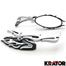 New UNIVERSAL Oval FLAME MOTORCYCLE CRUISER CHOPPER REARVIEW MIRRORS 8MM 10MM