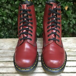 Dr. Martens 1460 Red Smooth Leather Ankle Boots 8 eye  Size UK 5 EU 38 US 7 L