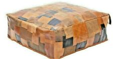 Square Moroccan Leather Patchwork Ottoman Pouf Coffee Table Beanbag Tan Cushion