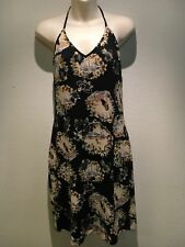 Review Hawaiian Print Black Halter Neck Stretch Lined Dress Size 12 Fit 10 12