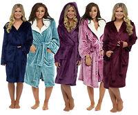 Luxury Shimmer Ladies Soft Long Hooded Fleece Bath Robe Dressing Gown House Coat
