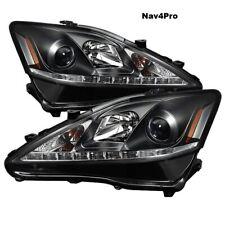*NEW* 2006-2010 Lexus IS250 IS350 Black LED DRL Halogen Headlight Pair