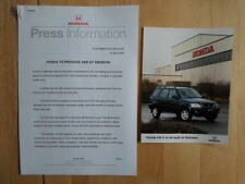 HONDA CR-V 4WD TO BE PRODUCED AT SWINDON orig 2000 UK Mkt Press Release + Photo