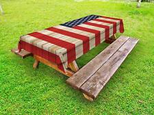 USA Outdoor Picnic Tablecloth Independence Day in July Print 58 X 84 Inches