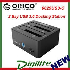 "ORICO 2 Bay USB 3.0 2.5"" 3.5"" SATA HDD Docking Station Clone 6629US3-C-BK"