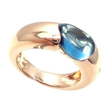 New! Authentic Pomellato Sassi 18k Rose Gold Blue Topaz Band Ring Size 5.5