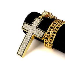 Big Curve Cross Iced Out Pendant & Chain Gold Tone Hip Hop Rap Necklace Rap S9