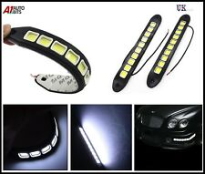 2x Waterproof Rubber Flexible 20W 12V COB LED DRL Driving Daytime Light For Car
