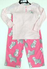 CARTER'S FILLE 2 Pce chien Pyjamas Set Rose Top, Rose Polaire Pantalon De 4 Ans BNWT