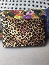 NEW Charlotte Olympia KITTY NAP Cat Silk Leopard Print Pouch Clutch Bag Purse