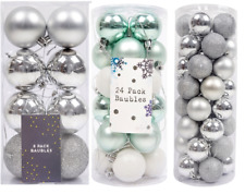 Glitter Christmas Baubles Xmas Tree Ornament Hanging Ball Photo Bauble Decor