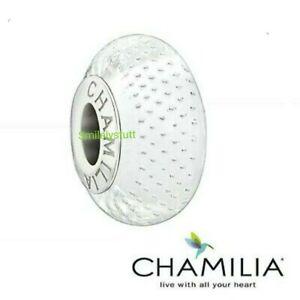 Genuine Chamilia Murano Glass & 925 Sterling Silver White Mystic Bead RRP £35