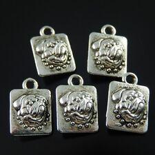 36131 Vintage Silver Alloy Bulldog Head Board Pendant Charms Craft Finding 8pcs
