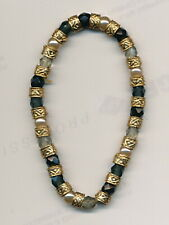 expandable bracelet.Stunning ! Murano glass blk/gold color