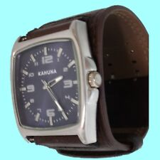 Armbanduhr Herren Uhr Kahuna Lederarmband braun blau gebraucht AKUC-0029G analog