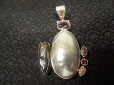 Large Sterling Silver Mabe Pearl, Abalone & Amethyst Abstract Modernist Pendant