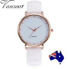 Fashion Woman Ladies Rose Gold Watch Black White Turquoise Silicone Band