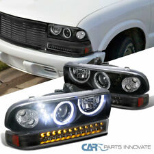 Fit 98-04 Chevy S10 Blazer Pickup Black Projector Headlights+LED Bumper Lamps