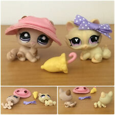 Authentic Littlest Pet Shop #1444 #848 Tan Purple Crouching Sphynx Cat Kitty LPS