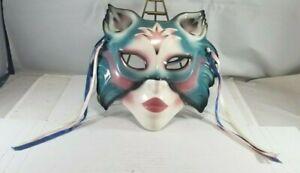 1989 Clay Art San Francisco / Ceramic Mardi Gras Type Cat Face Wall Mask / Nice