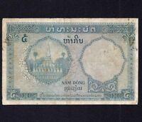 FRENCH INDO CHINA  5  Piastres = 5 Kip 1953  P-101