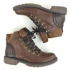 Spring Step Sine Ankle Boots US 9 EU 40 Vegan Leather Brown Lace Up Boots