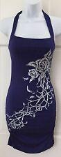 NWT $38 Arden B. Sexy Blue Halter Bodycon Dress SZ S White Floral Stretchy Studs
