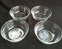 Lot of 4 Vintage Pyrex Custard Cups 6 oz # 463 Clear Glass 3 Ring Scallop Edges