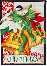 NEW EVERGREEN DOUBLE SIDED GARDEN FLAG CHRISTMAS BELLS CHICKADEE 12.5 X 18