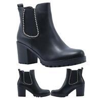 Ladies Womens Chelsea Ankle Block Heel Chunky Platform Boots Shoes UK 03-08