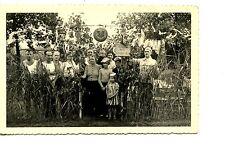 Folks-Outdoor Party-Sun-White Cloth Decoration-RPPC-Real Photo Vintage Postcard