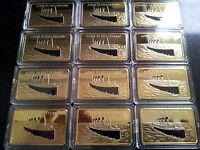 12x 1912 RMS TITANIC Boat Ship 1oz Bar of 24Kt Gold Ingot 100 Anniversary Joblot