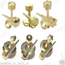 6 Pairs Gold Shapes Studex Ear Piercing Earrings Stud 4mm and 3mm Hypoallergenic
