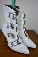 Vintage 1970's Unusual White Leather Ankle Boots with Skeleton Buckles & Zip