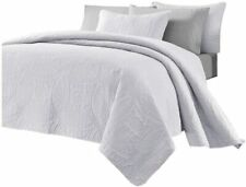 Chezmoi Collection Austin 3-Piece Oversized Bedspread Coverlet Set (Queen, White