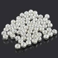 P/D: 100Stk.Versilbert Filigran Spacer Perlen Beads 8mm D. New Sale·