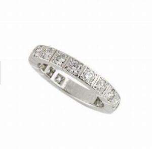 CARTIER LANIERES FULL DIAMOND WEDDING ENGAGEMENT 18K WHITE GOLD RING 52 US 61/2