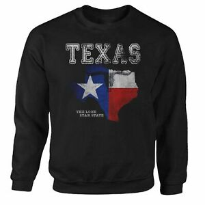 Texas -The Lone Star State- USA America Flag Pullover Sweatshirt S - 3XL