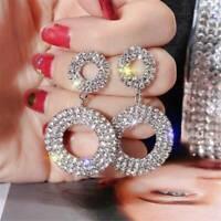 Geometric Luxury Round Crystal Drop Dangle Earrings Women Glitter Jewelry Gift